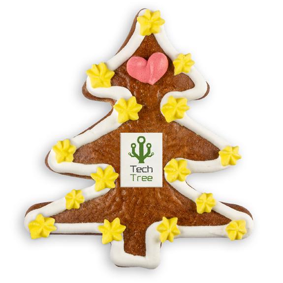 Lebkuchen Tannenbaum mit Logo individuell bedruckt als Werbegeschenk.