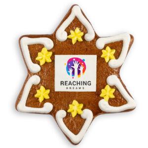 Lebkuchenstern mit Logo individuell bedruckt als Werbeartikel.