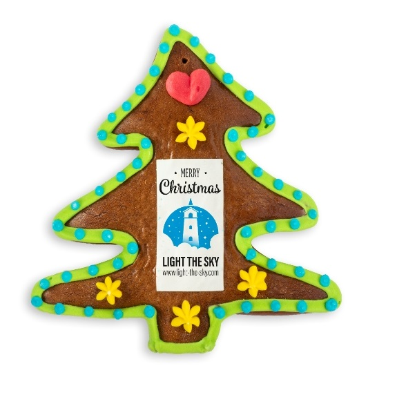 Weihnachtsbbaum aus Lebkuchen mit Logo bedruckt. Einzeln eingeschweißt in transparenter Folie.
