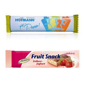 Energy Fruchtriegel in 7 verschiedenen Geschmackssorten. Original verpackt mit individuell bedruckter Werbebanderole.