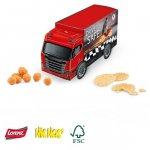 3D LKW Präsent individuell bedruckt mit Logo und gefüllt mit Knabbereien oder Snacks.