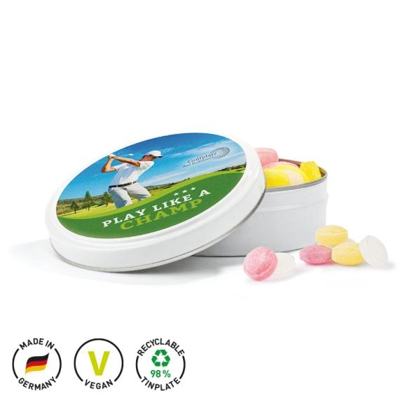 Bonbondose individuell bedruckt und gefüllt mit Bonbons als Fruchtmischung produziert als Expressproduktion..