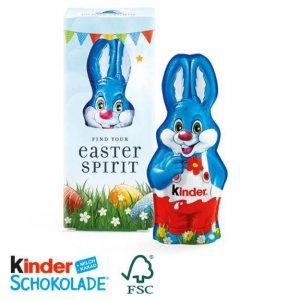 Kinderschokolade Harry Hase in Werbekartonage individuell bedruckt. Kinder Schokolade Osterhase in Werbebox mit Logo bedruckt.