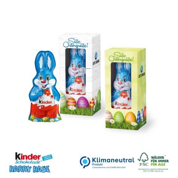 Kinderschokolade Osterhase Harry Hase in der Werbebox mit Logo bedruckt als Werbeartikel.