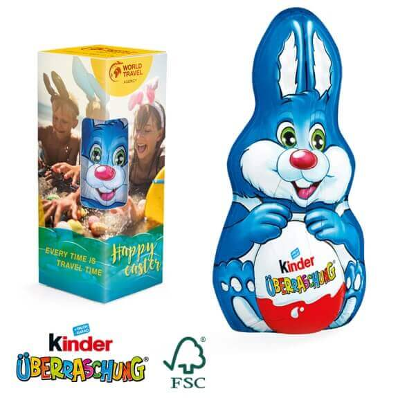 Kinderüberraschung Osterhase maxi in Werbebox individuell bedruckt. Kinder Schokolade Osterhase maxi in Werbekartonage. Ostern Kinderüberraschung als Osterhase in Werbeverpackung mit Logo.