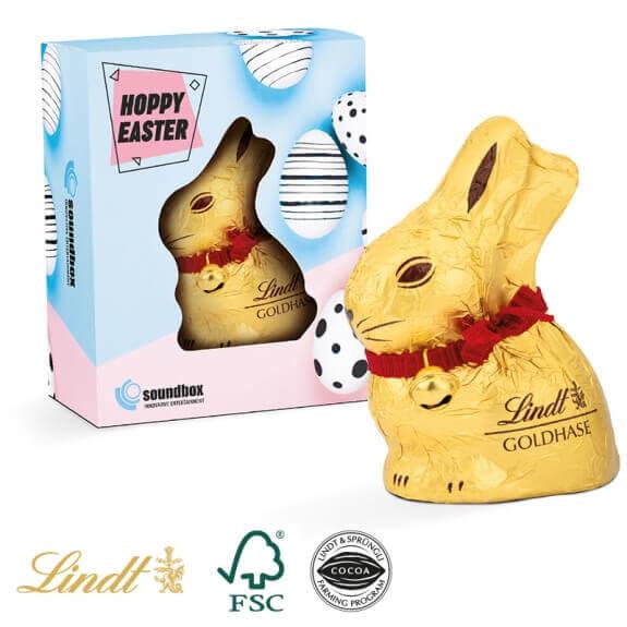 Lindt Osterhase in Osterbox maxi individuell bedruckt. Osterverpackung individuell bedruckt mit Logo und Werbebotschaft als Werbegeschenk.