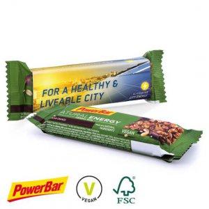 PowerBar Natural Energy Riegel mit Werbe-Banderole individuell bedruckt mit Logo.