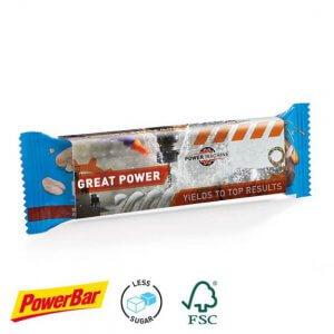 PowerBar Protein Nut2 Riegel mit Werbe-Banderole mit Logo bedruckt.