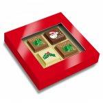 Weihnachten Pralinen mit Logo bedruckt direkt auf der Schokolade, verpackt zu 4 Stück in Geschenkpackung mit Sichtfenster.
