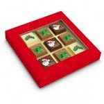 Pralinen Weihnachten mit Logo bedruckt verpackt zu 9 Stück in einer roten Geschenkbox mit transparentem Sichtfenster.