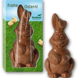 Schoko Osterhase in Werbebox individuell bedruckt mit Logo. Osterhase Verpackung mit Logo bedruckt. Osterhase in Werbekarton mit Werbedruck. Osterhase mit Werbeverpackung.