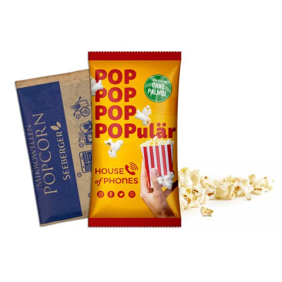 Mikrowellen Popcorn in Tüte individuell bedruckt.