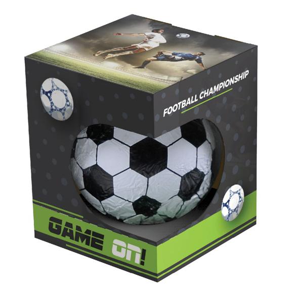 Eine individuell bedruckte Box mit einem Schokoladen Fußball