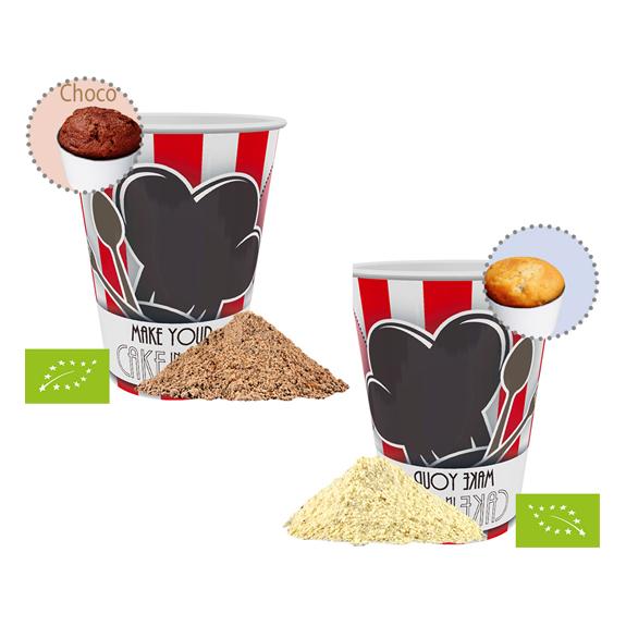 Bio Tassenkuchen im Werbebecher rundum bedruckt mit Ihrem Logo und Werbebotschaft.