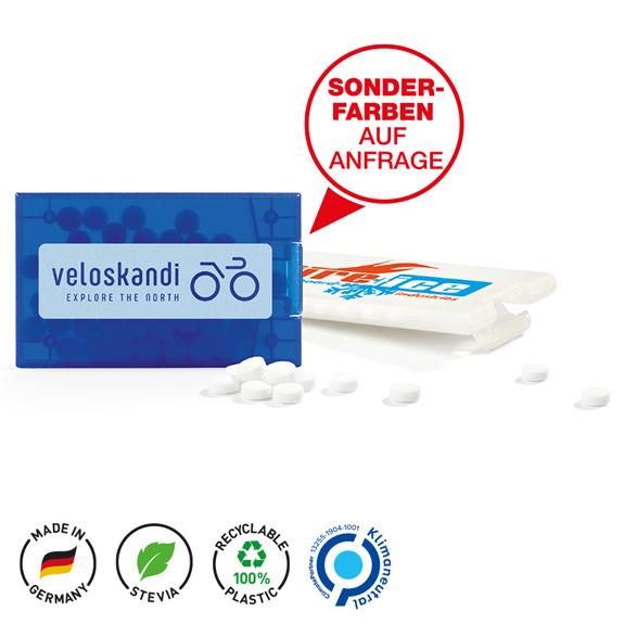 Pfefferminzkarte individuell bedruckt mit Logo.