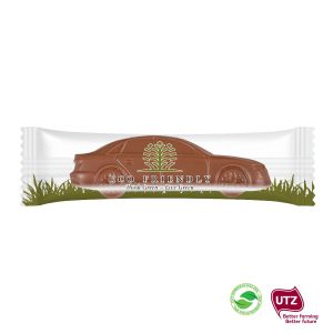 Schokoladen Auto mit individuellem Druck auf der Verpackungsfolie.