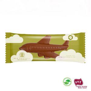 Schokoladen Flugzeug in Werbetüte mit Logo individuell bedruckt.