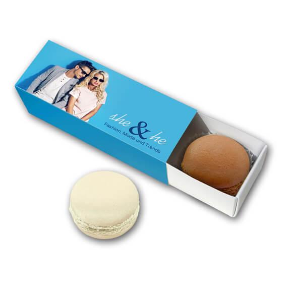 Macarons als Werbegeschenk zu 2 Stück in Werbekartonage individuell bedruckt nach Wunsch.