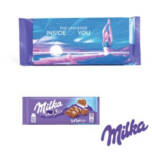 milka luflee mit personalisierter banderole als Werbeartikel.