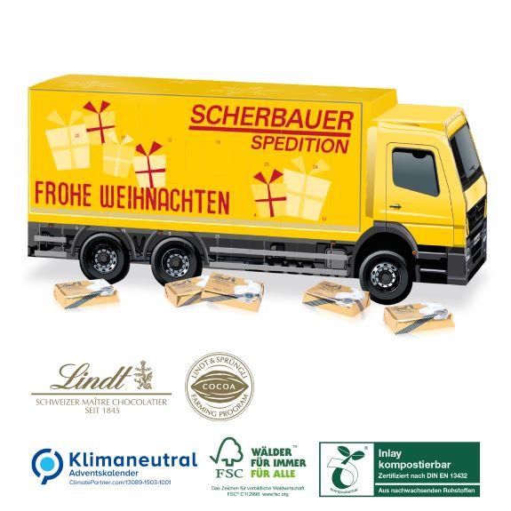 3D LKW Adventskalender mit Lindt Schoko Täfelchen und individuell bedruckt als Werbegeschenk.
