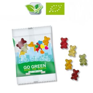 Bio Gummibärchen vegan in kleiner Menge bestellen mit individuellem Druck als Werbeartikel.