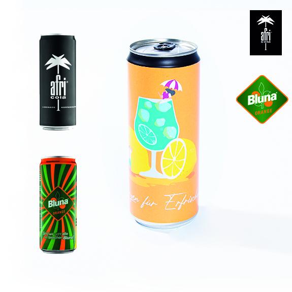 personalisierte cola und bluna dosen als werbeartikel