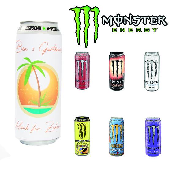 monster energy dosen mit logo banderole als werbemittel