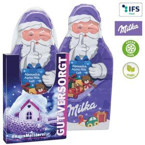 Werbeartikel Weihnachten Schokolade -Milka Weihnachtsmanntafel 85 g in einem individuell bedruckten Schuber als Werbeartikel.