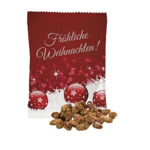 gebrannte mandeln mit logo im werbetütchen als streuartikel zu weihnachten