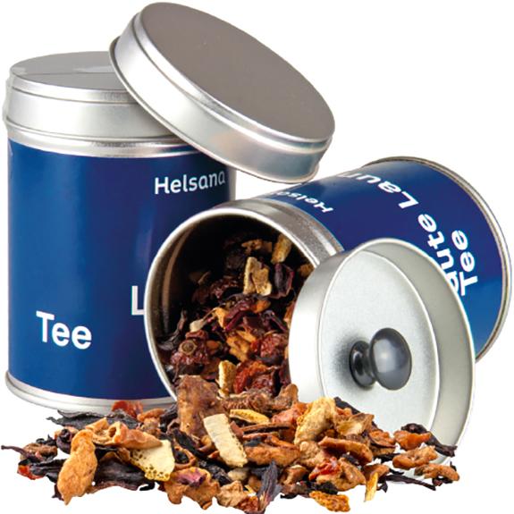 Tee in der Dose individuell bedruckt als Werbeartikel.