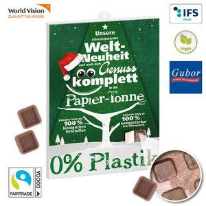 Adventskalender Eco Plus mit Fairtrade Schokolade und individuell bedruckt nach Wunsch.