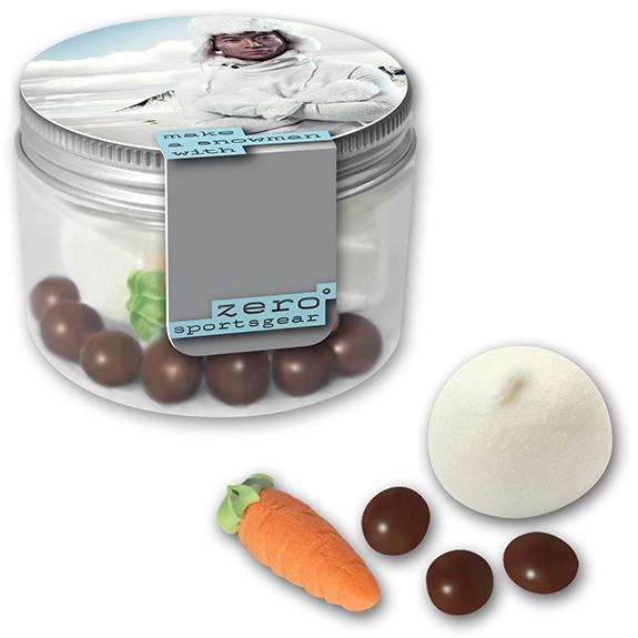 heiße schokolade mit logo als schneemann suppe in mini dose