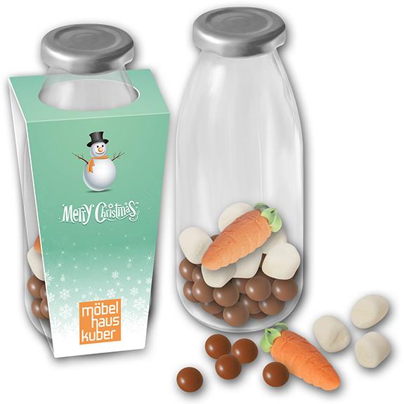 kleine werbegeschenke weihnachten in milchglas als schneemann suppe