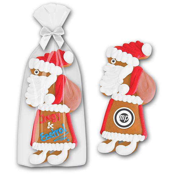 Lebkuchen mit Firmenlogo in Form eines Weihnachtsmanns