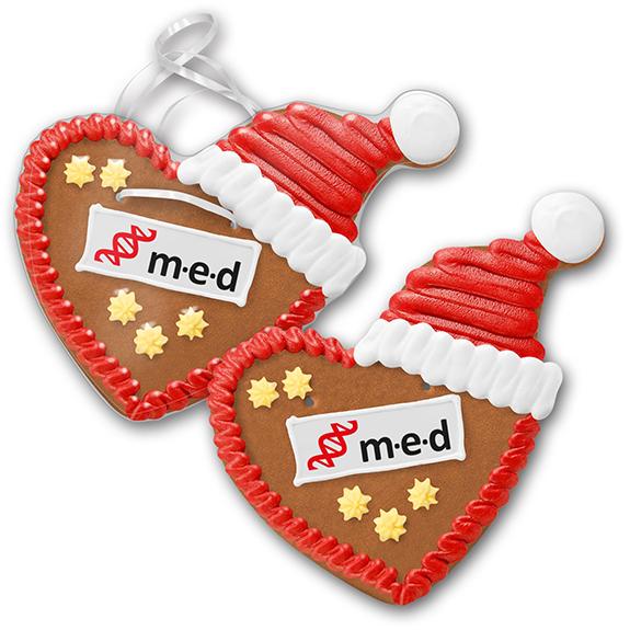 Lebkuchen Werbemittel Weihnachtsherzen mit Dekoraufleger