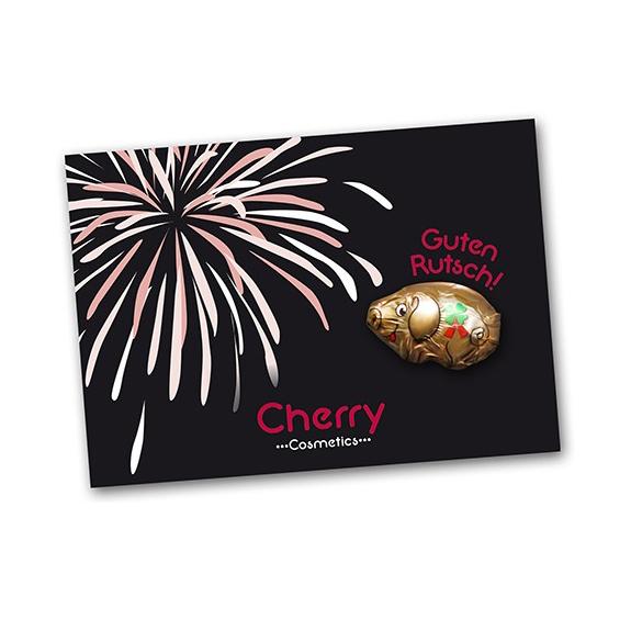 silvester giveaways glücksschwein aus schokolade auf werbekarte