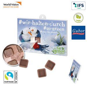Tisch Adventskalender Eco Plus aus Papier mit Gubor Fairtrade Schokolade individuell bedruckt als Werbeartikel.