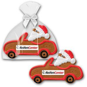 weihnachtliche werbemittel lebkuchen auto mit weihnachtsmann