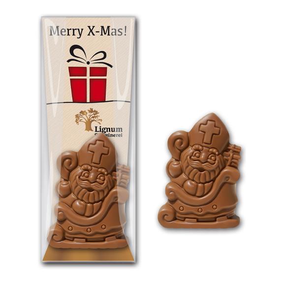 Schoko nikolaus mit werbekarte als werbeartikel zu weihnachtenl