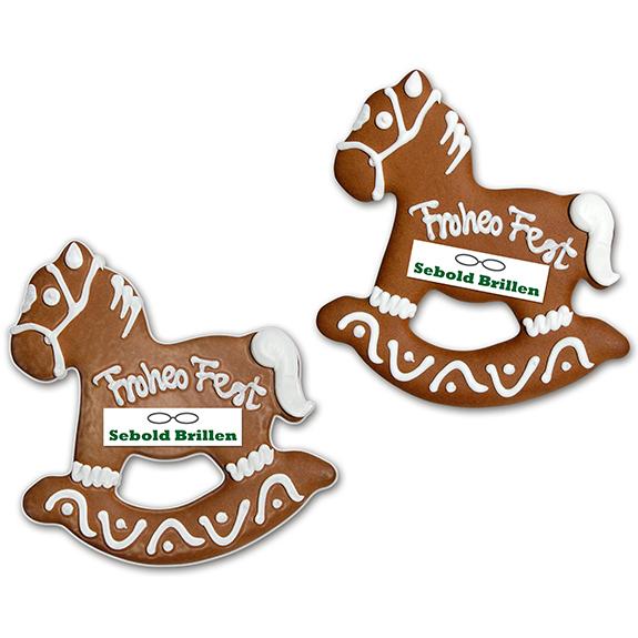 werbepräsente weihnachten lebkuchen schaukelpferd mit logo und zuckerschrift zum umhängen