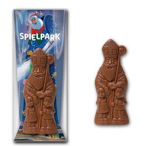 nikolaus mit logo aus schokolade mit werbekarte