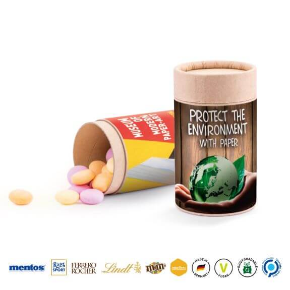 Dose aus Karton mit Süßigkeiten befüllt und individuell bedruckt mit Logo als Werbemittel.
