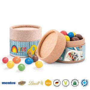 Papierdose Eco mini gefüllt mit Süßigkeiten und individuell bedruckt als Werbeartikel.