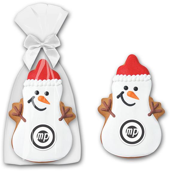 weihnachtliche give aways als lebkuchen schneemann mit logo