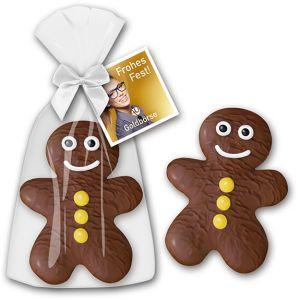 weihnachtliche werbeartikel als schoko lebkuchenmann mit werbekarte