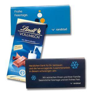 Lindt Schokolade als Werbemittel mit individuell bedruckter Banderole als Werbegeschenk.