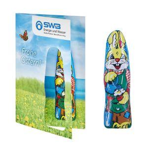 Faltkarte Osterhase individuell bedruckt mit Logo als Give away.