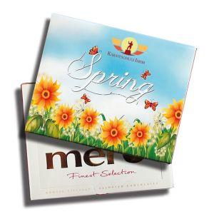 Merci Schokolade gestalten mit der Merci Finest Selection nach Wunsch auf einer Banderole als Werbeartikel.
