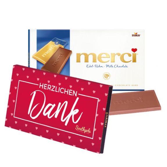 Merci Tafelschokolade individuell bedruckt auf einer Banderole als Werbeartikel.