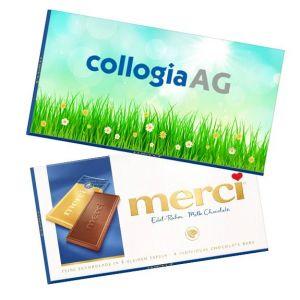 merci Tafelschokolade personalisieren auf der Werbebanderole mit Logo als Werbeartikel